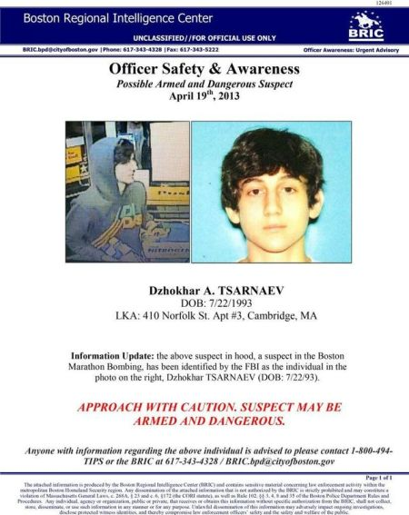 Boston bomber - alert notice