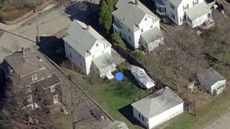 Boston bomber - hiding in a boat aerial view
