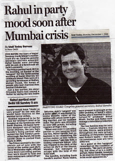 Rahul in party mood during Mumbai attack