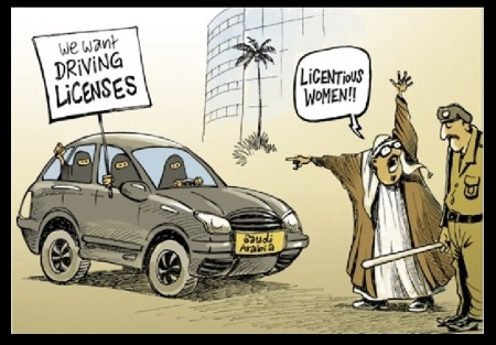 Saudi Arabia - women driving car- cartoon