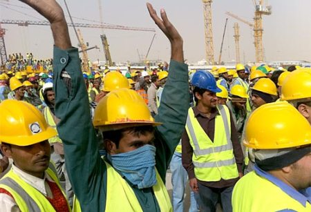 Saudi workerker striking