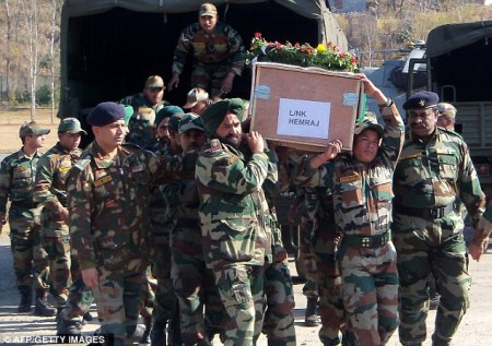 Indian soldier beheaded - coffin Yemaraj
