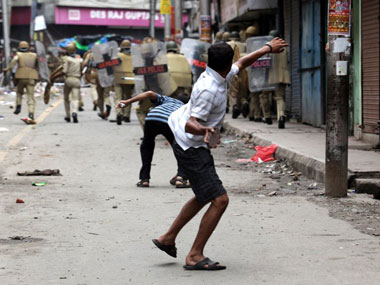 Stone-pelting young warriors