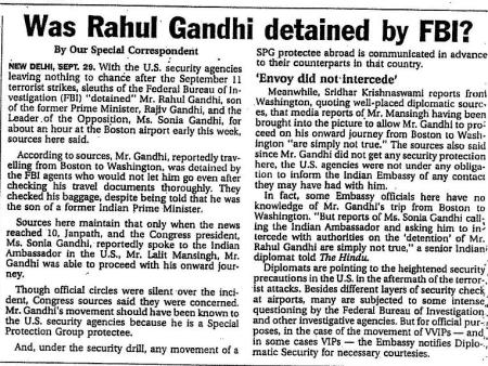 Was Rahul detained at Boston airport 2001 -The Hindu cutting