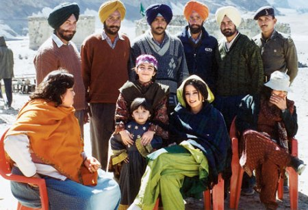 Susmita Banerjee (seated left) and actress Manisha Koirala in Ladakh when the film Escape from Taliban was shot.