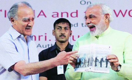 Modi releasing the book of Arun Shourie