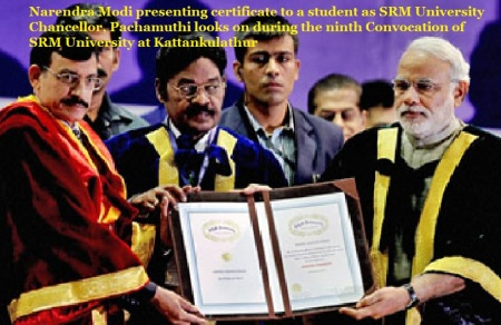 Narendra Modi and Pachamuthu at SRM convocation 2014.