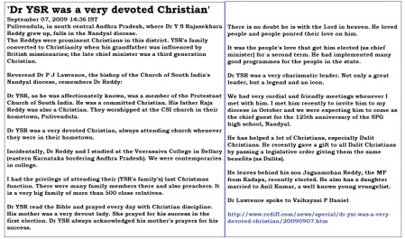 YSR devouted Christian Rediff.com cutting