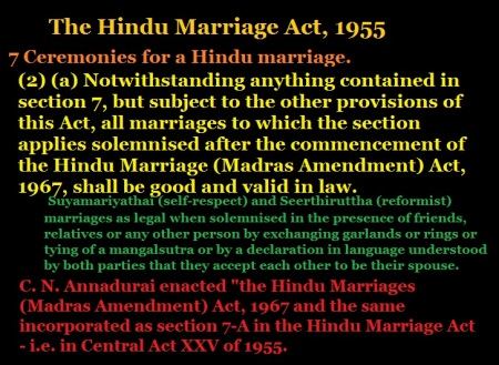 Self-respect marriage validated under Hindu Marriage Act