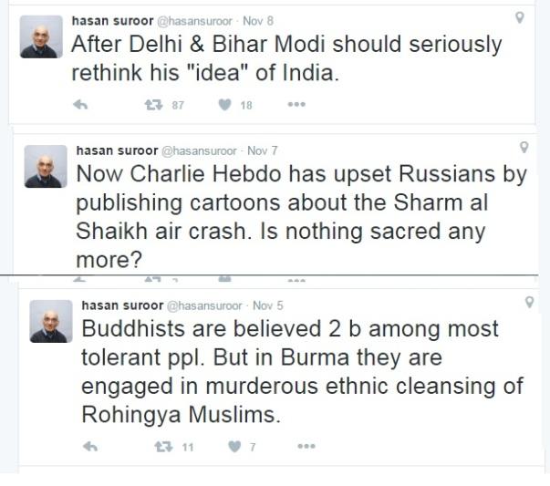 Hasan Suroor - Leftist, Is supporter, Hindutwa opponent-twitters.1