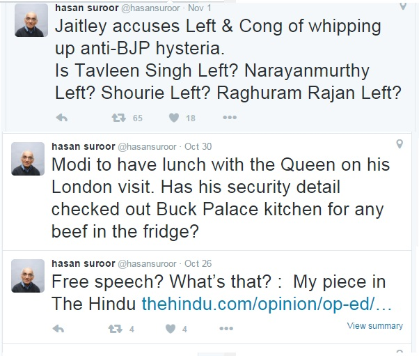 Hasan Suroor - Leftist, Is supporter, Hindutwa opponent-twitters.2