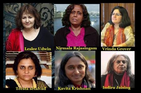 Leslee Udwin, Nirmala Rajasingam, Vrinda Grover, Teesta Setalvad, Kavita Krishnan, Indira Jaising
