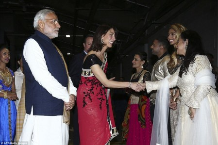Samantha Cameron dazzled in a patterned sari as she joined her husband and prime minister Modi to greet performers backstage