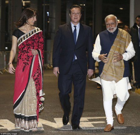 Samantha Cameron opted for an elegant sari as she joined her husband and Prime Minister Narendra Modi backstage at Wembley