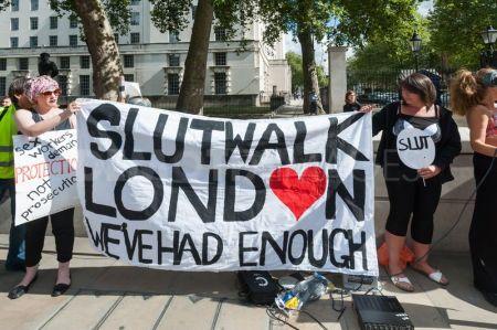Women-protest-in-underwear-against-rape-in-london-SLUT