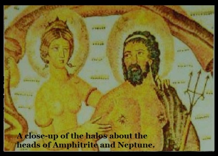 a close-up of the halos about the heads of Amphitrite and Neptune.