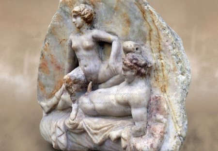 Erotic Roman Bas Relief Sculpture of a man and woman having sex Pompeii. 1st Cent