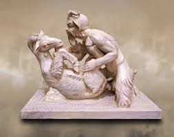 Pan and Goat- Roman Mythical erotic sculpture from Pompeii.