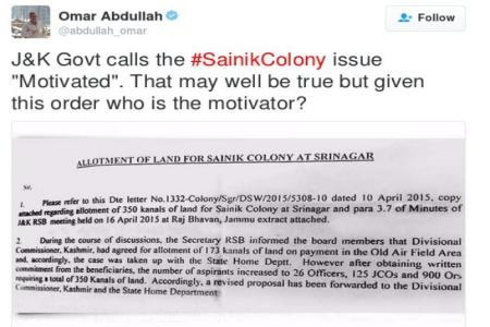 sainik-colony- omar in twitter