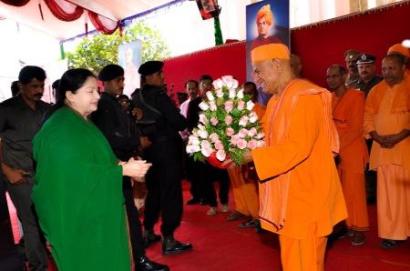 Jaya invited by the RKM mutt Swamijis