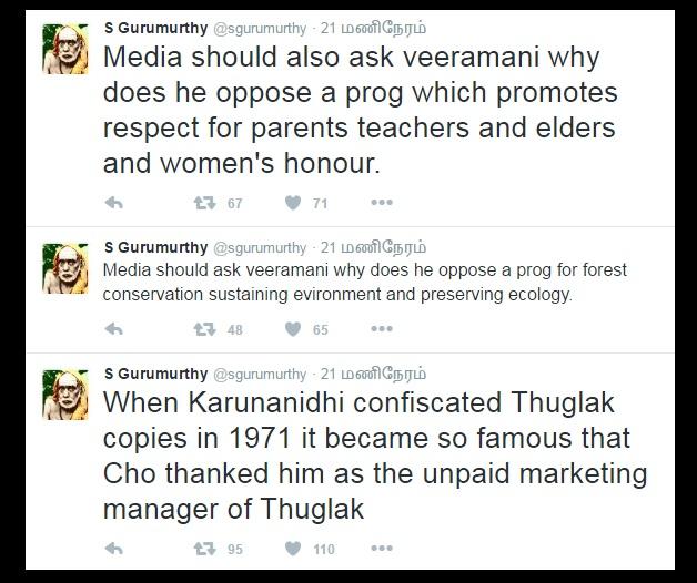 S Gurumurthys twitter about DK opposition.2