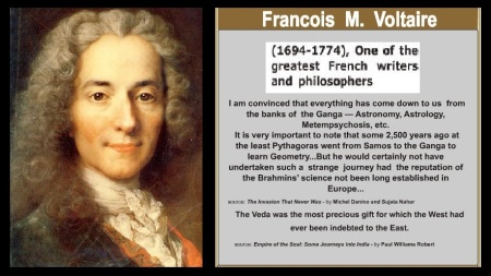 Voltaire appreciated Vedas