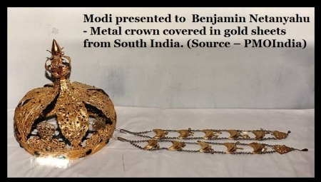 Modi presented to Benjamin Netanyahu - Metal crown covered in gold sheets from South India