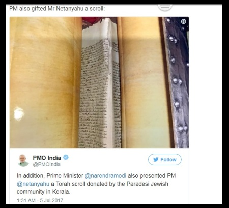 PM Modis gifted Israeli PM - scroll