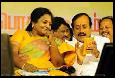 Angry Raja, looking Tamilisai smiling