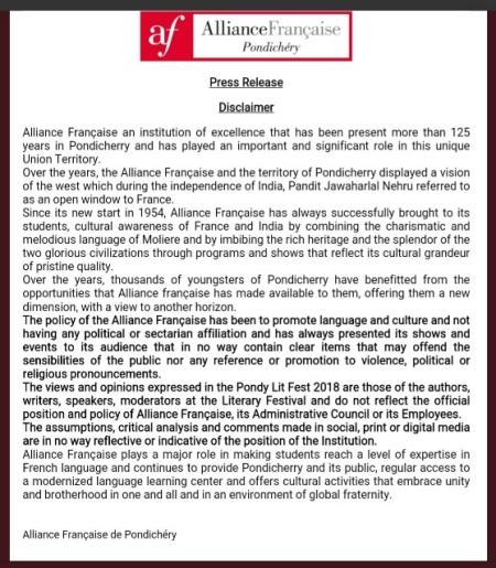 PondyLitFest-Alliance Francaise clarification