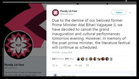 PondyLitFest-continued despite Vajpayee demise