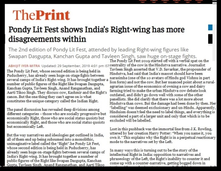 Pondy Lit Fest shows India's Right-wing has more disagreements within